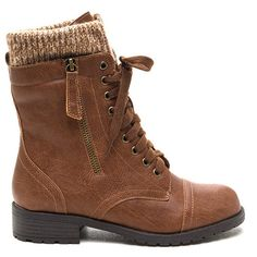 Cold Combat Sweater Cuff Boots COGNAC ($27) ❤ liked on Polyvore featuring shoes, boots, ankle booties, brown, military boots, cuff combat boots, brown flat boots, army boots and faux leather combat boots