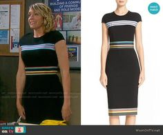 Nicole's black dress with multi colored stripes on Days of our Lives. Outfit Details: https://wornontv.net/78742/ #DaysofourLives
