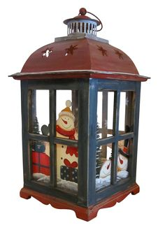 Holiday Candle Holder Lantern. Handpainted Snowman. Glass, wood, and tin carriage lantern. Charming vintage look.