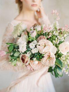 Blush Bouquet | Elegant Wedding Inspiration in an Old World Setting by Honey Gem Creative Photography