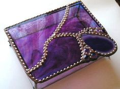 Stained Glass Jewelry Box - Stained Glass Box - Agate - Glass and Agate Box - Purple - Mauve - OOAK - Handcrafted - Made in USA by CreativeSpiritGlass on Etsy