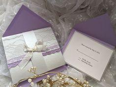 Elegant lace lavender wedding invitation suite by cuteNtrendy