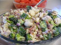 Broccoli cauliflower salad - minus the cheese.  I had this recipe ages ago but lost it and have been trying to recreate the dressing.  It's yummy.