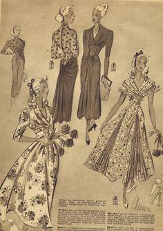 FREE Vintage 1940s Sewing Patterns | German Die Alma Mode Winter 1947 | 1948 | Vintage Patterns Dazespast Blog