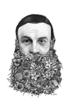 FLOWER BEARD Illustration/Sketch by Jérémy Schneider - PRINTED AMt via arcstreet.com