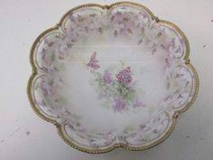Antique RS Prussia Lilac Porcelain 10.5` Bowl