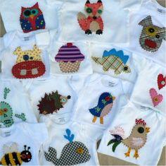 My handmade applique onesies. 40 designs. Hand Embroidered.