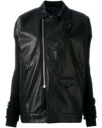 Rick Owens | Ribbed Sleeve Leather Jacket | Lyst