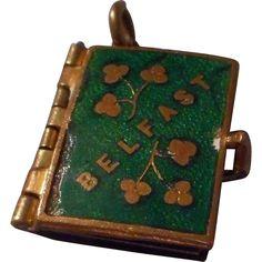 Sweet Vintage Green Enamelled Irish Book Locket