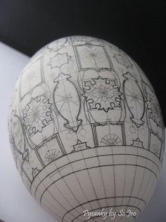 """a """"before"""" picture of a pysanky egg Egg Crafts, Easter Crafts, Ukrainian Easter Eggs, Ukrainian Art, Happy Easter, Eggshell, Geometric Patterns, Egg Shell Art, Carved Eggs"""