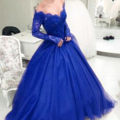 Custom Made Appealing Prom Dresses Blue, Formal Long Ball Gowns Long Sleeves Royal Blue Lace Princess Prom Dresses Royal Blue Prom Dresses, Princess Prom Dresses, Prom Dresses Long With Sleeves, A Line Prom Dresses, Tulle Prom Dress, Cheap Prom Dresses, Dress Long, Dress Formal, Formal Gowns