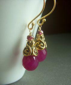Ruby Chalcedony Earrings on Goldfill . Red Gemstone Briolette . Raspberry. $17.00, via Etsy.