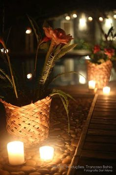 Decor 30 anos Capim Santo. Vasos de plalha. Design exclusivo,  feito por artesãos locais... muito lindo! ! #tropicalflower #amoreproduçoes #trancoso #capimsantotrancoso