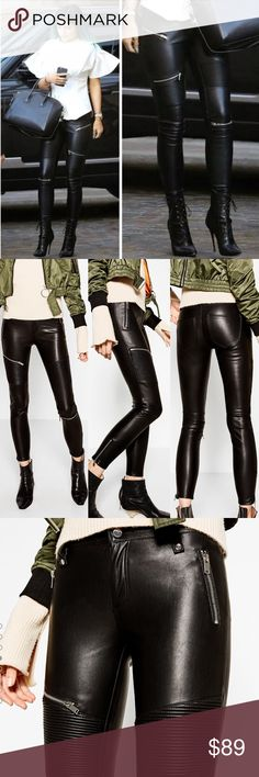 NWT ZARA Faux Leather Biker Trousers Brand new with tags. Never worn. Zara black faux leather biker moto pants with silver zippers. Fit is true to size. Size small and medium are available. As seen on Beyoncé and Kylie Jenner. Zara Pants Skinny