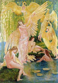 'The Swan Maidens - Walter Crane' Art Print by forgottenbeauty Walter Crane, Arthur Rackham, Son Of Zeus, Book Creator, 23 November, English Artists, Les Oeuvres, Swan, Fantasy Art