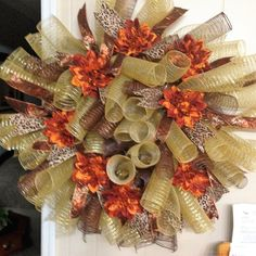 Large Spiral Mesh Fall Wreath by ChessersCreations on Etsy