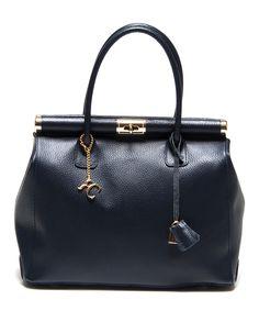 Blu Turn-Lock Pebbled Leather Satchel | zulily