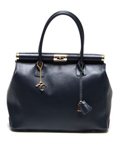 Blu Turn-Lock Pebbled Leather Satchel | zulily