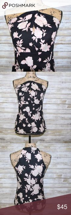 Michael Kors floral top with peal straps sz 4 Michael Kors  beautiful black top with pink/ white floral print , keyhole front with pearl straps  100% silk  sz 4 Gently worn MICHAEL Michael Kors Tops