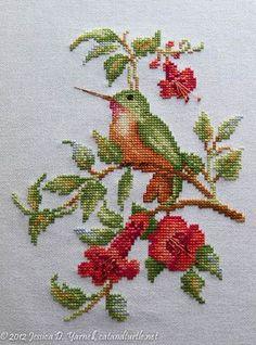 Hummingbird on Trumpet Vine. Cross-stitch of one of my favorite birds. Hummingbird on Trumpet Vine. Cross-stitch of one of my. Cross Stitch Needles, Cross Stitch Bird, Cross Stitch Animals, Cross Stitch Flowers, Cross Stitch Charts, Cross Stitch Designs, Cross Stitching, Cross Stitch Patterns, Ribbon Embroidery