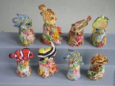 Купить Туфелька с рыбкой - разноцветный, рыба-клоун, морская рыбка, коралловая рыбка, фарфоровая туфелька