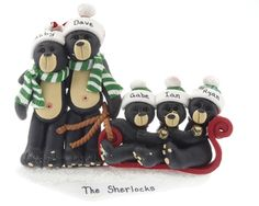 buy black bear family sled 5 personalized families of 5 christmas ornaments gifts and decorations at the ornament shop over 4500 items - Bear Christmas Decorations