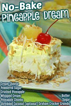 Pineapple Dream Dessert Recipe, Pineapple Desserts, Pineapple Recipes, Summer Dessert Recipes, Desert Recipes, Dream Whip Cake Recipe, Fruit Recipes, Cooking Recipes, Recipes