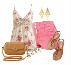 A fashion look from June 2014 featuring pink cami, high waisted cuffed shorts and beach footwear. Browse and shop related looks. Short Outfits, Chic Outfits, Fashion Outfits, Colored Shorts Outfits, Floral Tops, Tory Burch, Fashion Looks, My Style, Polyvore