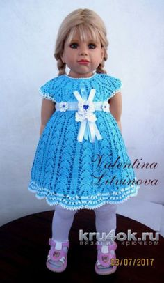 Платье для девочки. Работа Валентины Литвиновой. Вязание крючком.