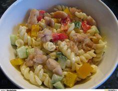 Těstoviny uvaříme, mezitím osmažíme kuřecí maso nakrájené na nudličky. Papriky a okurku nakrájíme na kostičky a dáme