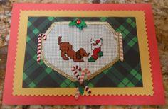 Puppy Dog Holiday Cross Stitch Greeting by CraftyCrossStitches, $5.99