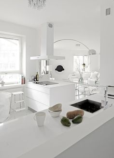 Danish kitchen/dining room-pale wood floors with all the white. >>> Want to know more, click on the image. #homedecordiy