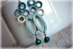 ON SALE Crochet Earrings with Quartz. Pastel Moss, Teal. Lightweight Jewelry. Boho