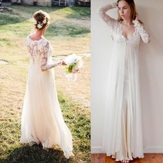 wedding dress guide deserves your buy. Like bohemian wedding dresses sleeves long ivory chiffon and lace v-neck floor length empire bridal…