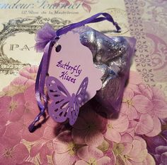 My version of the 'Butterfly Kisses' favor that I used at my daughter… – 2019 - Baby Shower Diy 2nd Baby Showers, Garden Baby Showers, Baby Girl Shower Themes, Girl Baby Shower Decorations, Baby Shower Centerpieces, Baby Shower Favors, Shower Baby, Shower Gifts, Baby Shower Purple