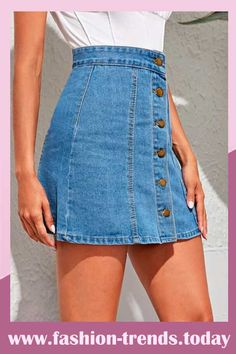 Style: Casual Color: Blue Pattern Type: Plain Length: Mini Type: A Line Details: Button Front Composition: Cotton, Polyester Material: Denim A Line Denim Skirt, Latest Fashion Dresses, Casual Skirts, Boho, Dress P, Mens Fashion, Fashion Trends, Cami, Jeans