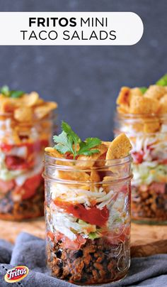 Looking for the perfect recipe to share at your July 4th party? Try these creative and satisfying Mini FRITOS Taco Salads. Stacked with seasoned ground beef, cheddar cheese, tomatoes, and finally topped with crunchy FRITOS corn chips, this easy entertaining recipe is sure to be a crowd pleaser!
