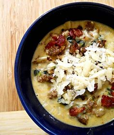 *This has become a staple in our house.  ONce a week!  All 4 kids love it and it's so great as leftovers.  A new favorite for sure!  Zuppa Toscana;  bacon, potatoes, spicy sausage, parmesan cheese.