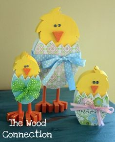 the wood connection: Skinny Chick (left), Chicka Chick (middle), Legless Chick (right)