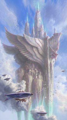 Fantasy City, Fantasy Castle, Fantasy Places, Fantasy World, Dream Fantasy, Fantasy Concept Art, Dark Fantasy Art, Fantasy Artwork, Beautiful Fantasy Art