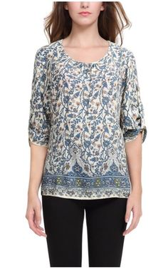 5c092da0876a6 BAISHENGGT Women s Neck Tie Floral Print Ethnic Style Tunic Top at Amazon Women s  Clothing store
