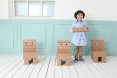 Very funny cardboard chair. #kids #room #FunnyPaper #smile #ShowUp