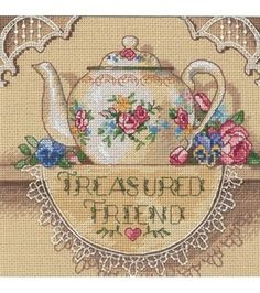 Dimension Gold Collctn Petite Treasure Friend Teapot Cntd X-Stitch Kit, , hi-res