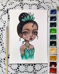 «Princess Tiana This postcard is available in my Etsy. Link in profile Sold out. Thank you so…» Disney Drawings, Cartoon Drawings, Cartoon Art, Cute Drawings, Pop Art Drawing, Girl Drawing Sketches, Arte Tim Burton, Pinturas Disney, Arte Sketchbook