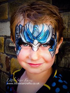 Little Star Faces Optimus Prime Transformers face paint design http://www.littlestarcrafts.co.uk #optimus # transformers #facepaint