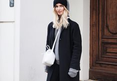 Cos beanie, The Kooples coat, Acne Studios cashmere hoodie, Mansur Gavriel bucket bag. Via Mija Street Chic, Street Style, Mansur Gavriel Bucket Bag, Berlin, Cashmere Hoodie, Fall Winter, Autumn, Casual Chic, Hoodies
