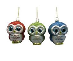 St. Nicholas Square 3-pc. Owl Christmas Ornament Set