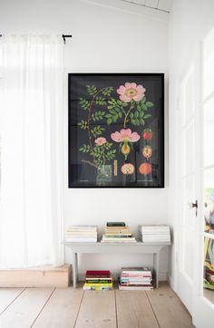 white walls with large, dark botanical print