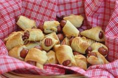 Pig in a Blanket....Made mine with little cheddar sausages. Yummy, like comfort dipped in good ole yellow mustard....This is a keeper.....Cathy