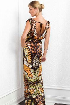 Baccio Couture Malu Long Silk Dress - Nothing says summer like a sleeveless dress. This classy sleek design features a plunging neck line and deep V back accented with shimmering Swarovski stones. Adjustable drawstring belt sewn around the waist customizes to your desired fit and style.   #silkdress